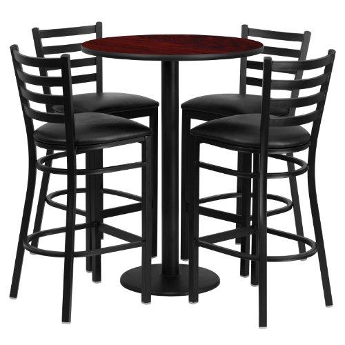Flash Furniture 30'' Round Mahogany Laminate Table Set with 4 Ladder Back Metal Bar Stools-Black Vinyl Seat