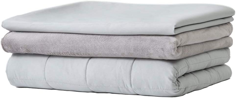 "Thirdream Cooled Weighted Blanket Adults 20lbs, 3 Pieces, 60"" x 80"", Queen Size, with 2 Removable Washable Covers, Soft Minky Cover and Ice Silk Cover, Grey"