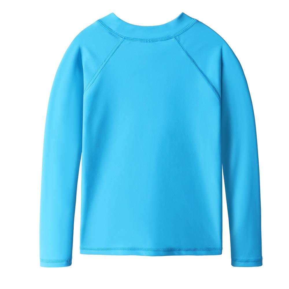 TFJH E Girls' Long-Sleeve Rashguard Swim Shirt UV 50+ Surfing Beachwear, Blue 10A by TFJH E (Image #2)
