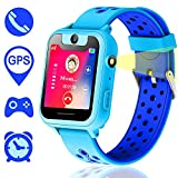 Kids Smartwatch,Touch Kids GPS Tracker Smart Watch with Camera SIM Calls Anti-lost SOS Wrist Watch for Children Girls Boys Birthday Gifts(Blue)
