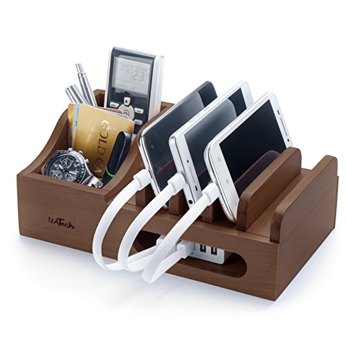 Wood Multi Device Organizer for using with Multiple USB Charging Station like Anker, RAVPower, Poweradd USB chargers for Smartphones and Tablets from UATech (dark)