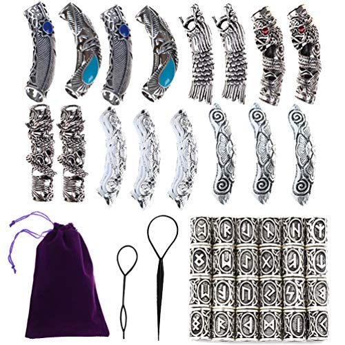 Qingsi 40 Pcs Vikings Rune Beard Bead Set Norse Dreadlocks Rings for Dreads Beards,Hair Paracord Pendants,Bracelets DIY]()