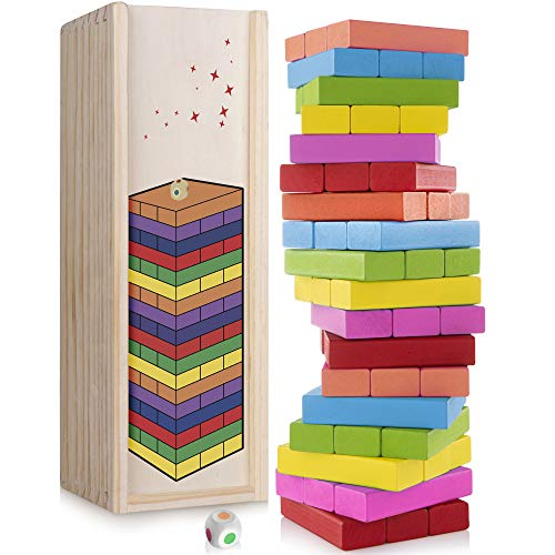 (DexКid Colored Wooden Blocks 54 Pieces Stacking Board Games for Kids Ages 3 and Up Building Toy Tower With Wooden Carrying Case)