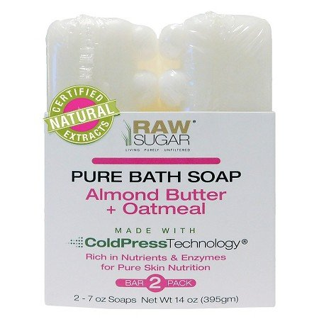 RAW Sugar Pure Bath Soap Almond Butter + Oatmeal 2 ct, total 14oz(7ozx2 bars) by Sugar in the Raw
