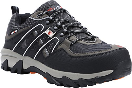 Proof Steel amp; Men Toe Strip Footwear Work Reflective Shoe Puncture Grey Shoes Safety LARNMERN Industrial Construction Black qdfgwzqR