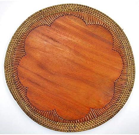 Coco Papaya Set de Table Rond en Bois et rotin Style Exotique Ethnique Chic.
