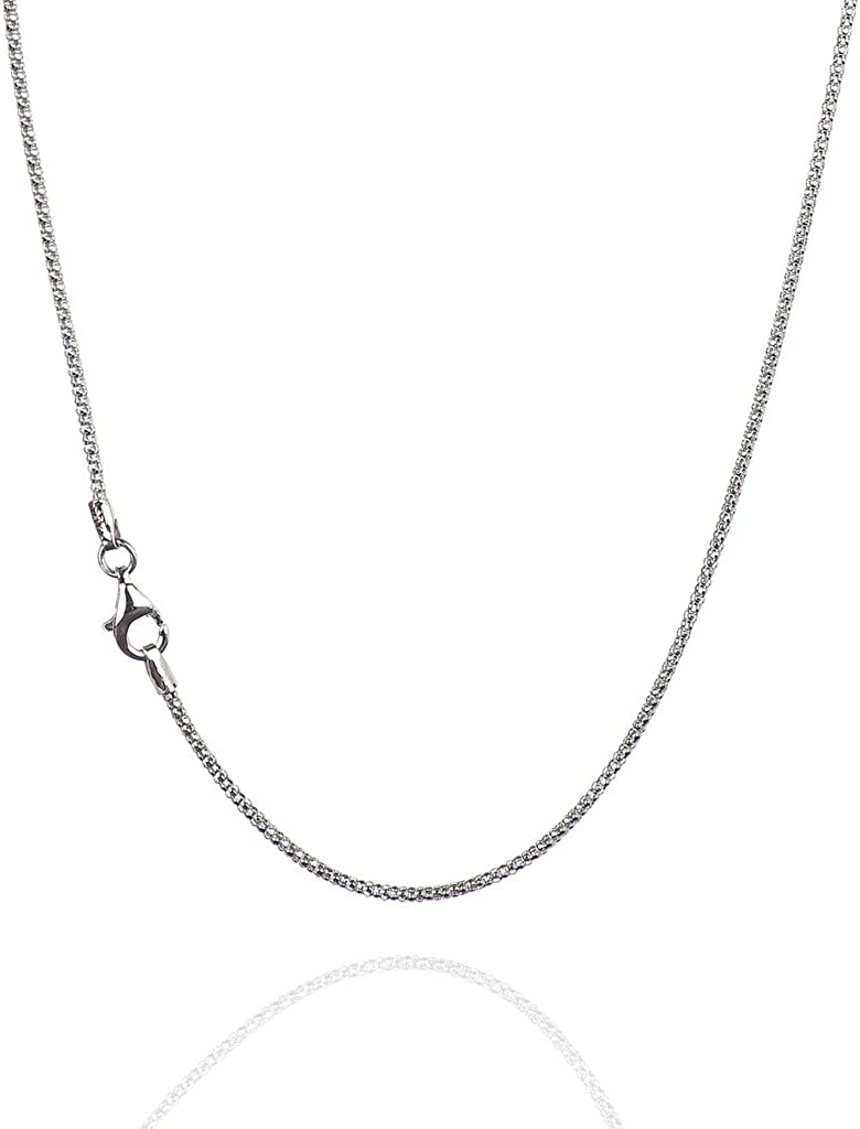 Italian Quality Chain 925 Sterling Silver Chain | Diamond-Cut Popcorn Chain Necklaces for Women or Men and Bracelets for Women or Mens Bracelet | Anti Tarnish