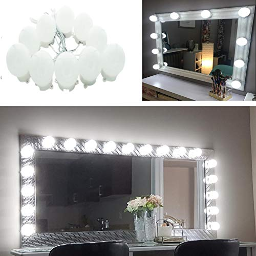 AIBOO Hollywood Super Star Style Makeup Mirror Vanity LED Light Bulbs Kit for Dressing Table Dimmable & Plug in, Linkable and Flexible Strip, Mirror Not Included (10 Bulbs Day White) ()