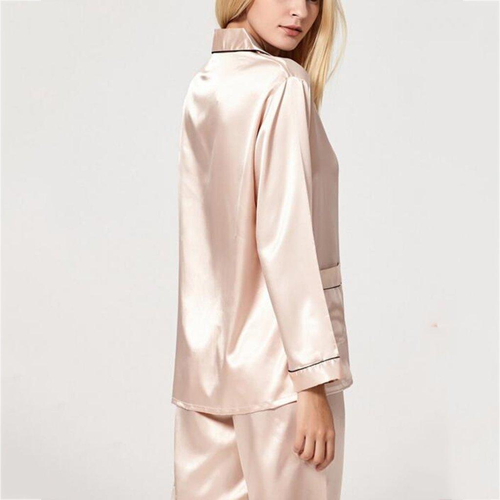 GJM Shop algodón con bolsillos albornoz ---- Cárdigan Color Sólido Mangas Largas Seda Pijama Se Puede Usar Afuera Elegante Simplicidad Ropa De Casa Conjunto ...