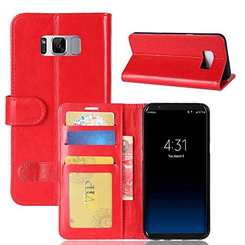 La cubierta de la caja de la cartera del teléfono para Samsung S8 plus. GOGME Samsung S8 plus Flip Funda Funda para Teléfono, Premium PU Cartera de Cuero Conector para Celular, Celular Skin Poche Magn rojo