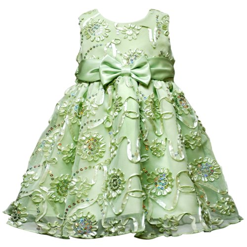 Rare Editions Baby/INFANT 12M-24M 2-Piece HONEYDEW-GREEN SEQUINED SOUTACHE MESH OVERLAY Special Occasion Wedding Flower Girl Party Dress