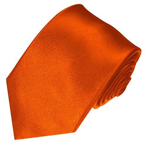 (LORENZO CANA Luxury Italian 100% Silk Woven Necktie Orange Solid)