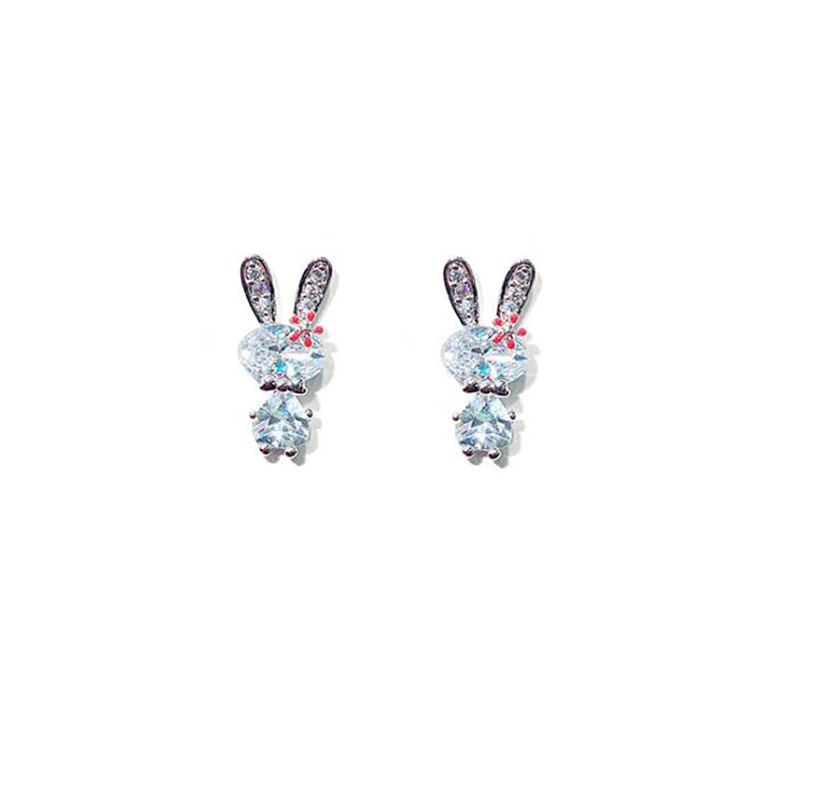 Silver Libaraba Crystal Accent Rabbit with Flower Stud Earrings with Heart Jewelry Box,Rabbit Earrings for Women