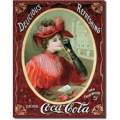COKE Victorian Red Dress Tin Sign - Winter wall decorations