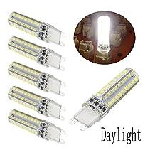 Ulight Dimmable LED G9 Light Bulb, 5 Watt ( 40 or 45 Watt Halogen Equivalent ) Silicone Coated Bi-pin Base G9 LED Corn Crystal Bulb, 360 Degree Corn Lamp - Fit for Crystal Chandelier, Ceiling Lamp Lighting-5packs (5W, Daylight 6000K)