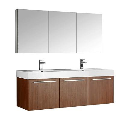Tremendous Amazon Com Fresca Vista 60 Teak Wall Hung Double Sink Download Free Architecture Designs Xoliawazosbritishbridgeorg