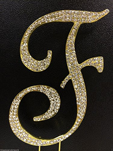overed Gold Monogram Wedding Cake Topper Letter F by other (Monogram Wedding Cake)