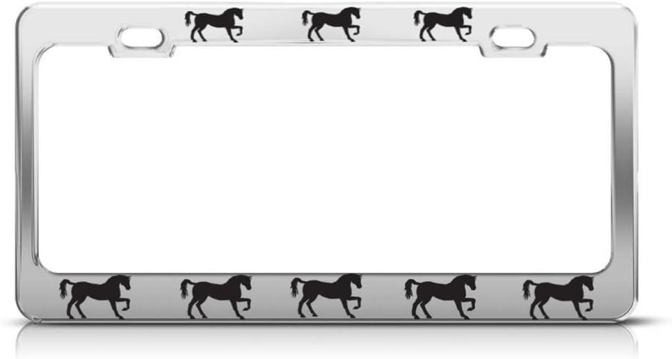 Speedy Pros Metal License Plate Frame Horses Chrome Style A Car Accessories Chrome 2 Holes