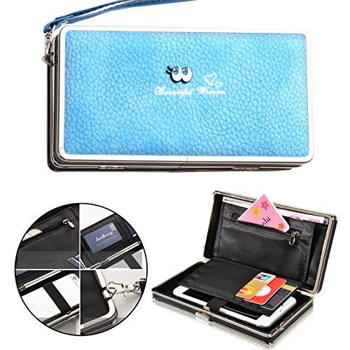 97c4e1aa1 Vandot Cartera de mano con asa para mujer azul, Elegante Gran Capacidad  Premium PU Cuero Billetera Monedero del Teléfono Móvil con Ranuras para  Tarjetas ...