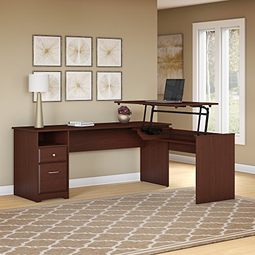 Bush Furniture Cabot 72W 3 Position L Shaped Sit to Stand Desk in Harvest Cherry Cherry Traditional L-shaped Desk
