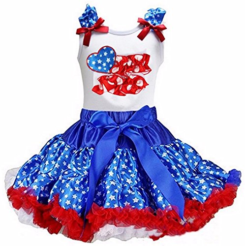 Kirei Sui Girls Blue Star Pettiskirt with Ruffled USA Flag Tank Top Small White (Ruffled White Pettiskirt)