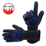 Heat Resistant Oven Mitts Cooking Gloves- Fireplace Accessories and Welding,Cut Resistant and Forearm Protection with 932°F Heat Resistance-14'' Long (1 Pair)