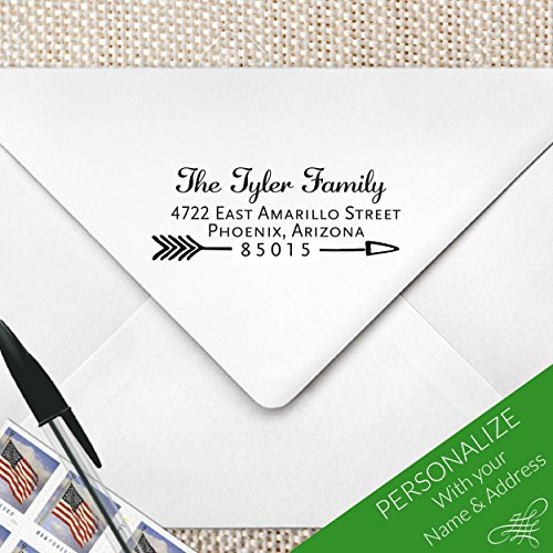 Arrow Calligraphy Return Address Stamp, MS-REC-22 by ZipStampZ