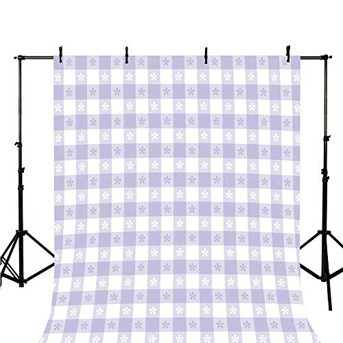 Lavender Stylish Backdrop,Pastel Colored Classic Gingham Check Pattern with Delicate Small Blossoms Decorative for Photography,118
