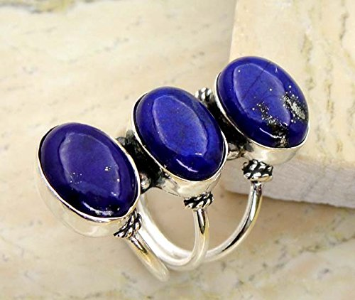 7.30 gms,10.80 Ctw Genuine Lapis .925 Silver Overlay Handmade Rings (Size-10.5)