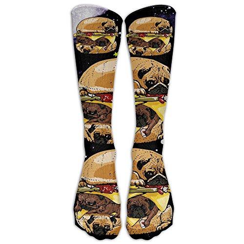 PUG BURGER Compression Socks Soccer Socks High Socks For Running, Medical, Athletic, Edema, Diabetic, Varicose Veins, Travel, Pregnancy, Shin Splints, (Halloween Burgers Recipes)