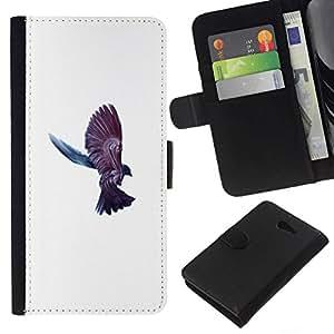 NEECELL GIFT forCITY // Billetera de cuero Caso Cubierta de protección Carcasa / Leather Wallet Case for Sony Xperia M2 // Cuervo Cuervo Pájaro