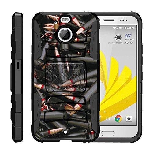 TurtleArmor | HTC Bolt Case | HTC 10 Evo Case [Hyper Shock] Rugged Hybrid Shell Kickstand Case Holster Belt Clip Robot Military War Army Design - Black Bullets (Case Girls Lte For 4g Htc Evo)