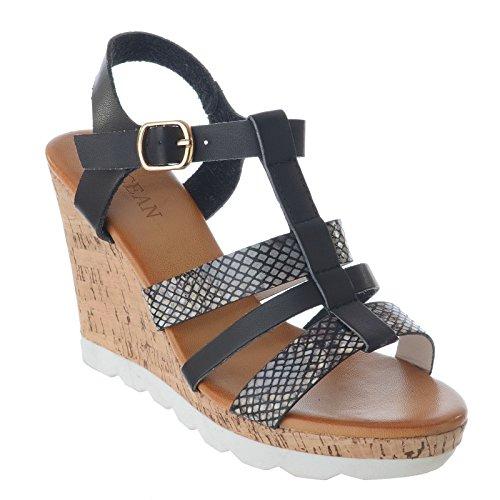 Miss Image UK Damen Riemen Hoch Kork Plateau Keil Ferse Knoechelriemchen Schnalle Sandalen Schuhe Größe Schwarz