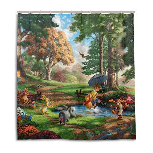 (HUHAOSC Winnie The Pooh Bath Shower Curtain Waterproof Fabric Shower Curtains 66x72 Inch)