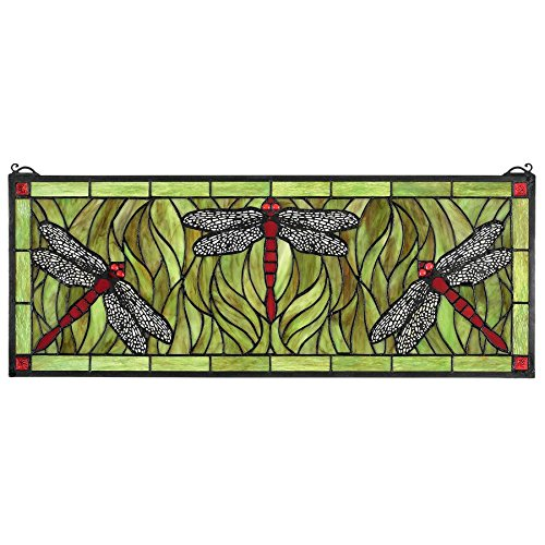 Design Toscano Emerald Green Dragonfly Tiffany-Style Stained Glass Window ()