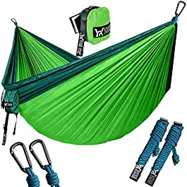 WINNER OUTFITTERS Double Camping Hammock – Lightweight Nylon Portable Hammock, Best Parachute Double Hammock for…