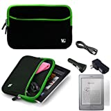 Black with Green Trim Slim Protective Soft Neoprene Cover Carrying Case Sleeve with Extra Pocket // Fits Anywhere// for Amazon Kindle Touch (Wi-Fi, 6'' E ink Display) + a USB Car Charger + a USB Home Charger + a USB Data/Sync Cable