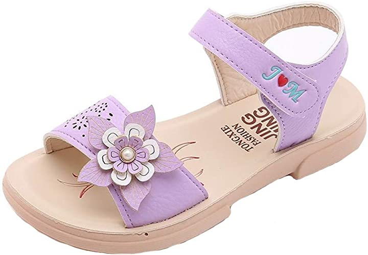 Toddler Baby Girls Kids Sandals Flowers Roman Hollow Out Sandals Princess Shoes