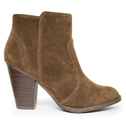 Breckelles Damen HEATHER-34 Faux Wildleder Chunky Heel Ankle Booties Brauner Ts