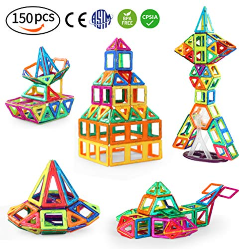 (150 PCS Magnetic Blocks with Wheels,Magnetic Building Blocks Set)