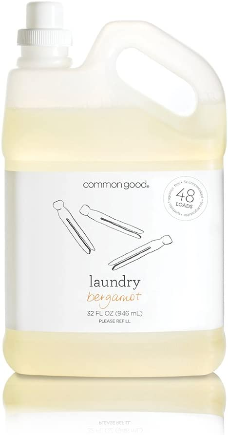 Common Good - Laundry Detergent, Plant-Based Ingredients, Enzymes for Powerful Stain Removal and Readily Biodegradable, Leaping Bunny Certified, 48 Loads (Bergamot Scent, 32 ounces)