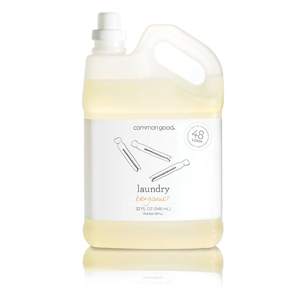 Common Good - Laundry Detergent, Plant-Based Ingredients, Enzymes for Powerful Stain Removal and Readily Biodegradable, 48 Loads (Bergamot, 32 oz)
