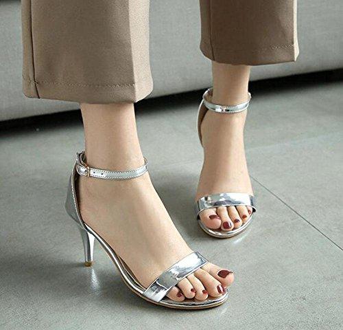 Kuki Damen Sandalen rund das Wort Leck Fuß Absätzen, 2, US5.5 / EU35 / UK3.5 / CN35