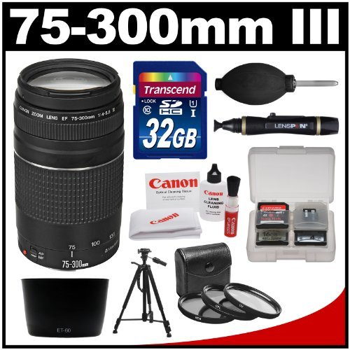 Canon EF 75-300mm f/4-5.6 III Zoom Lens with 32GB Card + Tripod + 3 Filters + Hood Kit for EOS 5D Mark II III, 6D, 7D, 70D, Rebel T3, T3i, T5, T5i, SL1 Cameras by Canon
