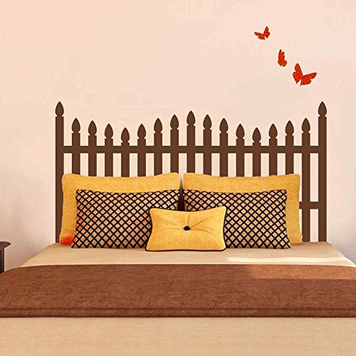 (BATTOO Picket Fence style Headboard Wall Decal with Butterfly for Twin Full Queen King Bed Vinyl Wall Decal Sticker(Wine Red, Queen))