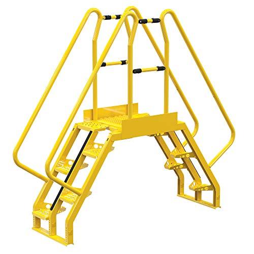 """Vestil COLA-3-56-20 Yellow Alternating Cross-Over Ladder, 90"""" x 81"""", 10, 350 lb. Capacity"""