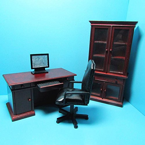 (Dollhouse Miniature Office Desk, Chair, Bookcase and Computer in Mahogany T - My Mini Fairy Garden Dollhouse Accessories for Outdoor or House Decor)