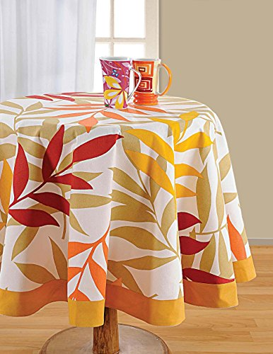 ShalinIndia Round floral tablecloth - 72 inches in Diameter - Tablecloths for 6 Seat Tables - Duck Cotton - Machine Washable (Table Cloth Breakfast)