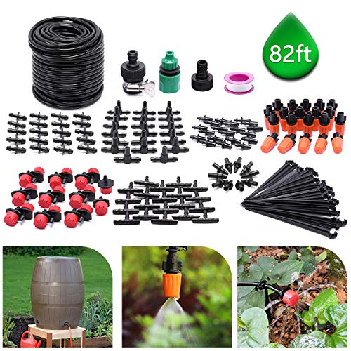 CYEVA 82ft/25M Drip Irrigation Kit with 40Pcs Adjustable Emitters, 2 Different Sprinkler Types, Water-Saving DIY Sprinkler System for Vegetable Garden, Lawn, Pot Plants, Rain Barrel Kit (Rain Types Barrels Of)