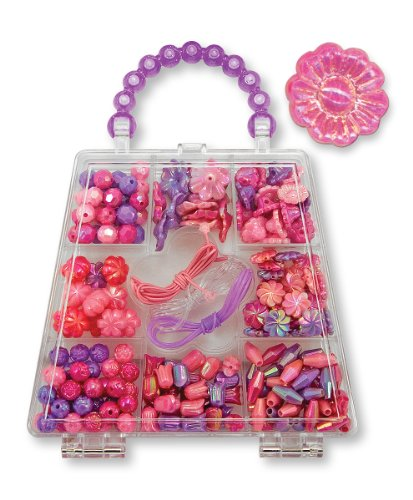 Melissa & Doug Polished Petals Bead Set With 150+ Beads and 3 Cords for Jewelry-Making
